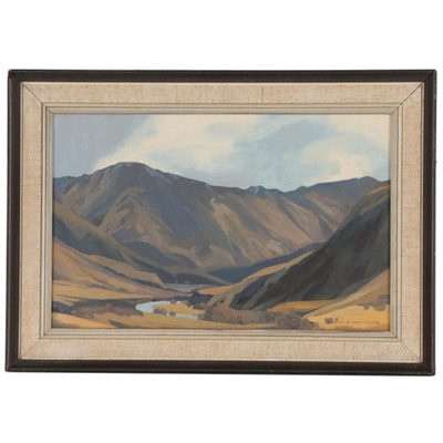 "Colin Vernon Wheeler Oil Painting ""Wanaka Landscape"", Mid to Late 20th Century"