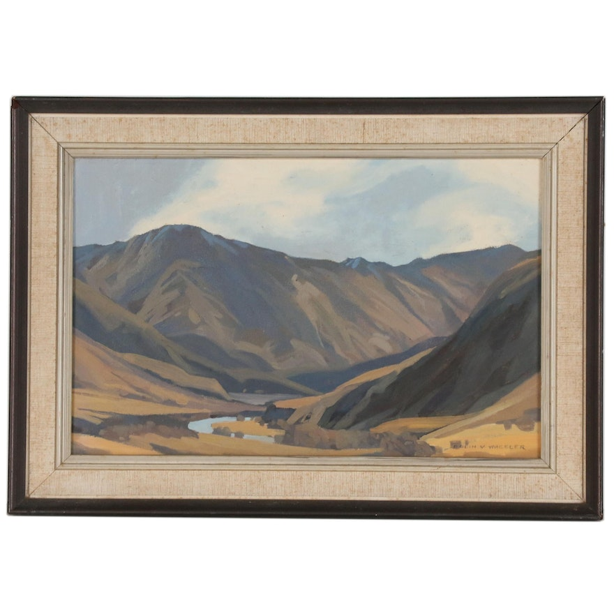 """Colin Vernon Wheeler Oil Painting """"Wanaka Landscape"""", Mid to Late 20th Century"""