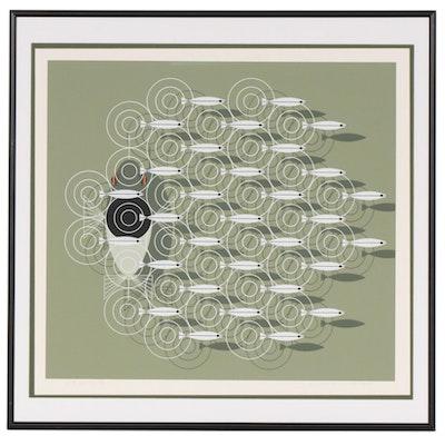 "Charley Harper Serigraph ""Skipping School,"" circa 1977"