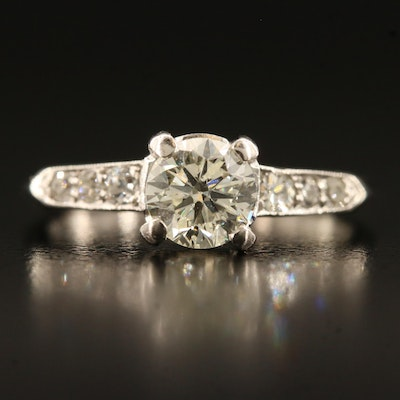 Platinum 1.08 CTW Diamond Cathedral and Shoulder Ring