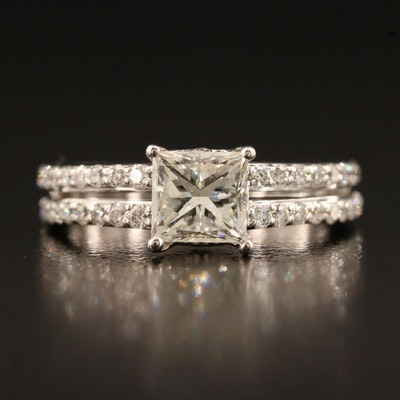 14K 1.75 CTW Diamond Ring with 1.18 CT Center and Peek-A-Boo Diamond Feature