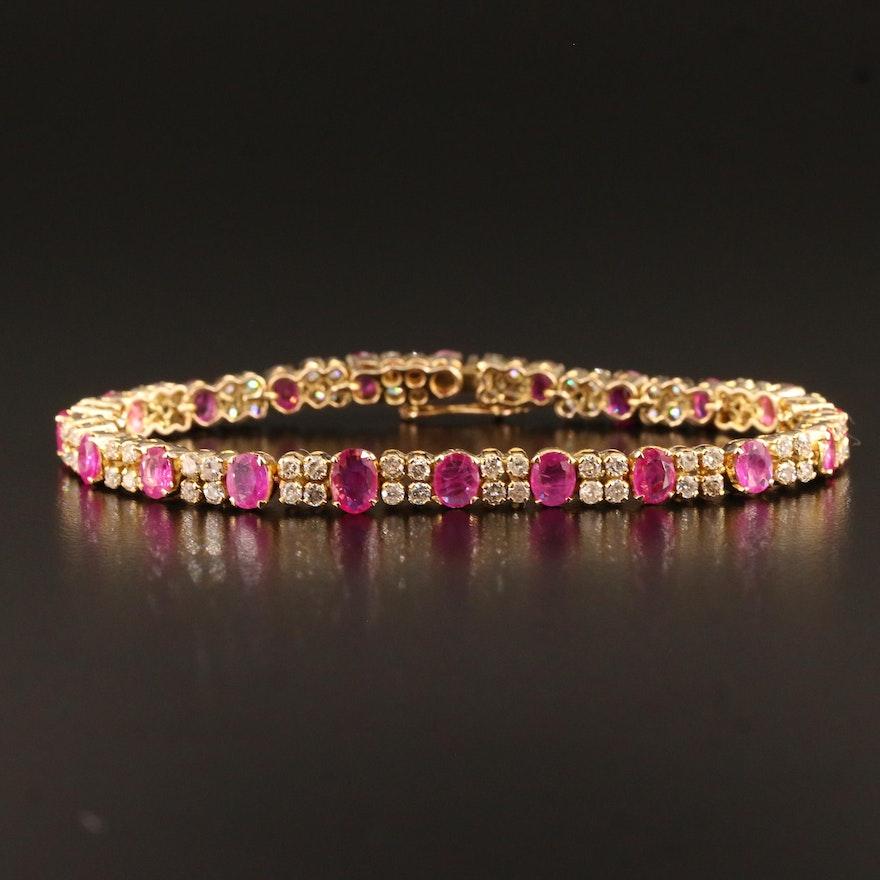 14K Ruby and 2.50 CTW Diamond Bracelet