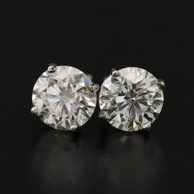 Platinum 2.27 CTW Diamond Stud Earrings with Digital GIA Reports