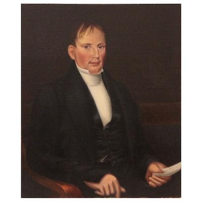 American School Oil Portrait of Gentleman, Mid-19th Century