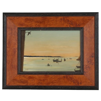 "Stephen Etnier Oil Painting of Harbor Scene with Rower ""Performance"""