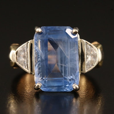 18K Double Shank 8.85 CT Sapphire Ring with 14K Setting and Diamond Accents