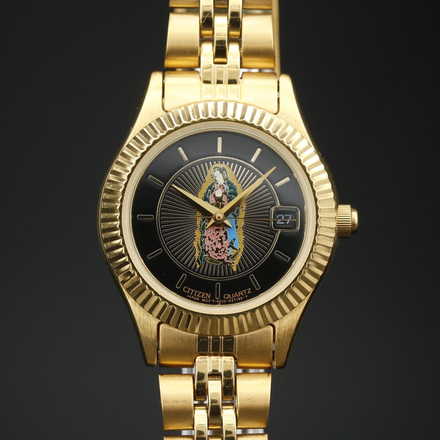 "Citizen ""Our Lady of Guadalupe"" Dial Gold Tone Quartz Wristwatch"