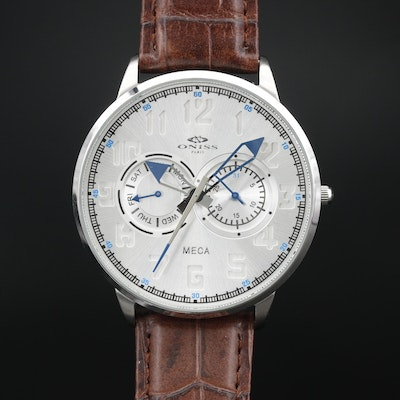 Oniss Meca Day-Date Stainless Quartz Wristwatch