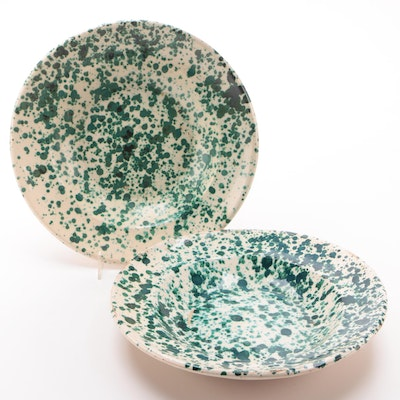 Pair of Splatter Paint Ceramic Serving Bowls