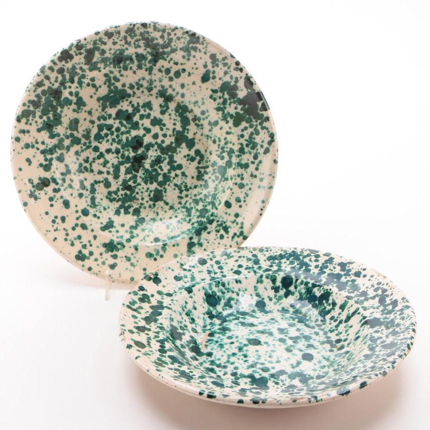 Pair of Splatter Paint Ceramic Serving Bowls
