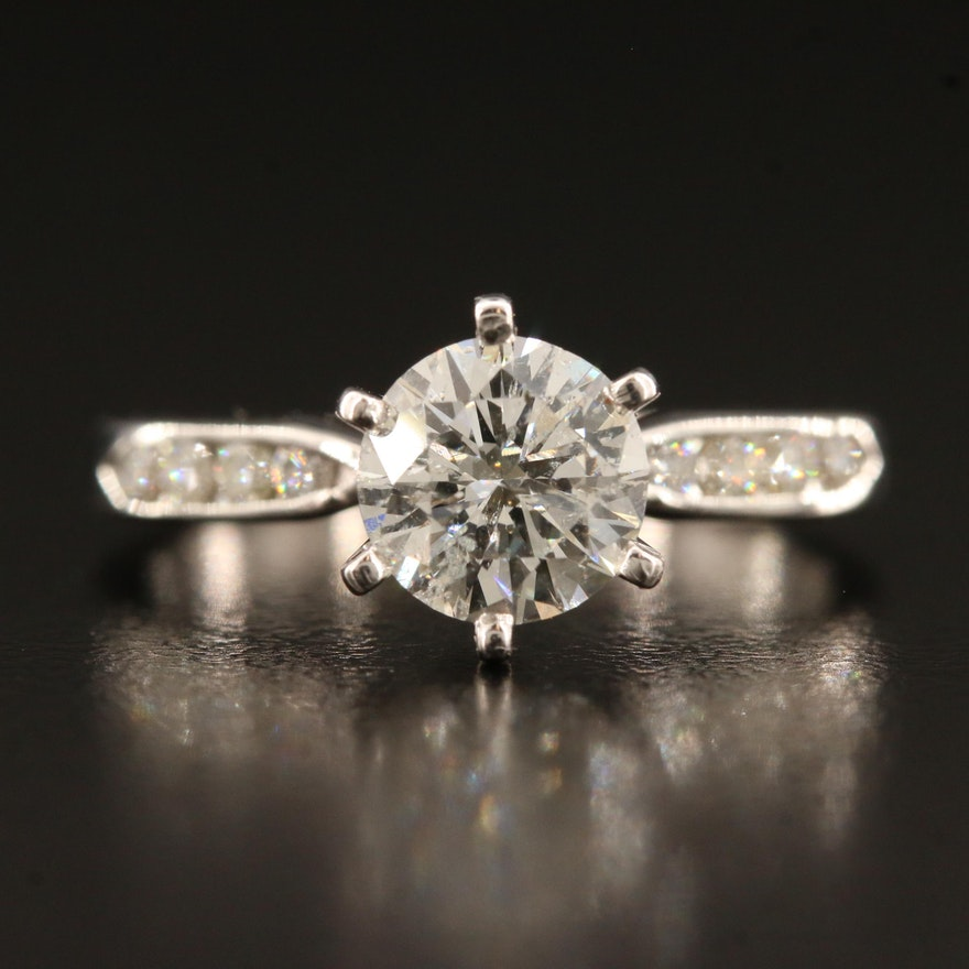 14K 1.44 CTW Diamond Ring with 1.22 CT Center