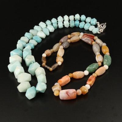 Amazonite, Agate and Aventurine Quartz Necklaces
