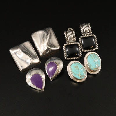 Vintage Sterling Clip Earrings Featuring Black Onyx, Turquoise, and Charoite