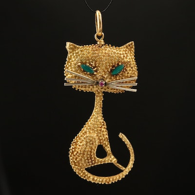 Vintage 14K Ruby and Glass Cat Pendant