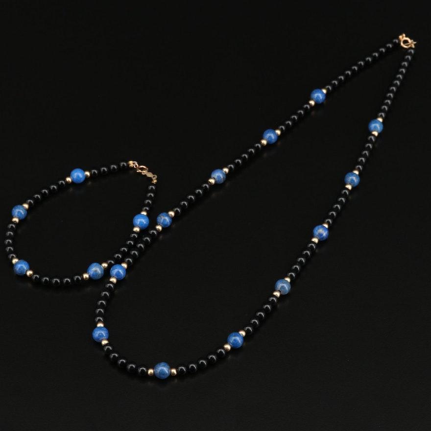 14K Lapis Lazuli and Black Onyx Necklace and Bracelet