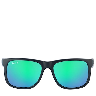 Ray-Ban Polarized Black and Green Flash Sunglasses with Case