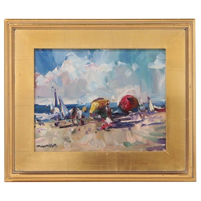 "Jose Trujillo Oil Painting ""Beach Day"", 2019"
