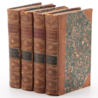 """Ancient History"" by Charles Rollin Complete Four-Volume Set, Late 19th Century"