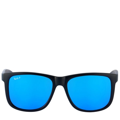 Ray-Ban Polarized Black and Blue Mirrored Sunglasses with Case