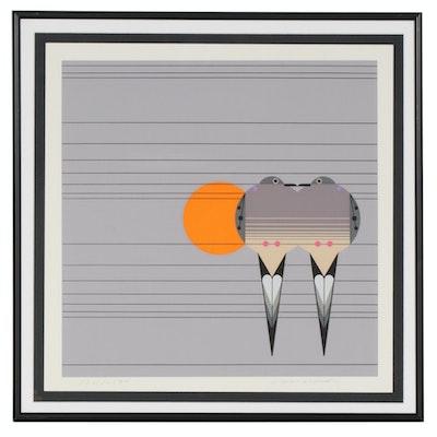 "Charley Harper Serigraph ""Lovey Dovey,"" circa 1978"