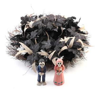Kenec Peruvian Día de los Difuntos Bride and Groom Figurine and Halloween Wreath