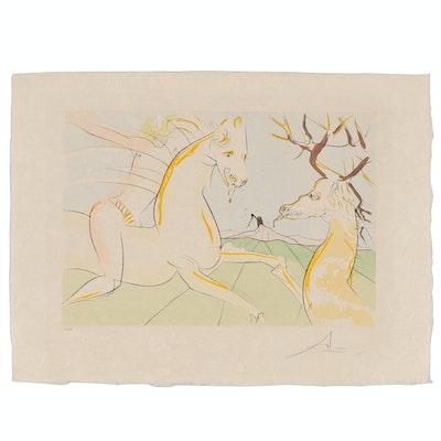 """Salvador Dalí Engraving with Pochoir """"Le Cavalier et le Cerf"""", 1974"""