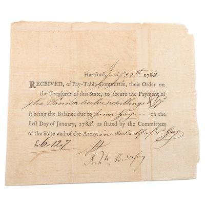 American Revolutionary Col. Nehemiah Beardsley Pay-Table Document Signed