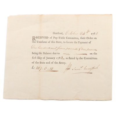 Revolutionary War Captain Sam Comstock Pay-Table Document Signed