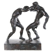 """Bronze Sculpture after Mahonri Young """"Right to the Jaw,"""" Late 20th Century"""