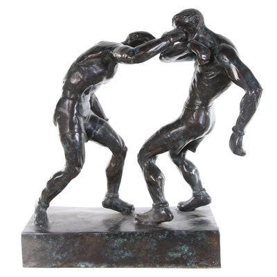 "Bronze Sculpture after Mahonri Young ""Right to the Jaw,"" Late 20th Century"