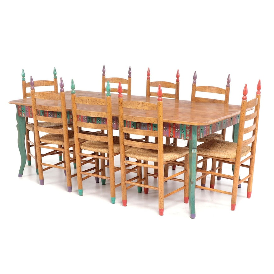 David Marsh Southwest Painted Pine Table And Ladder Back Chair Dining Set Ebth