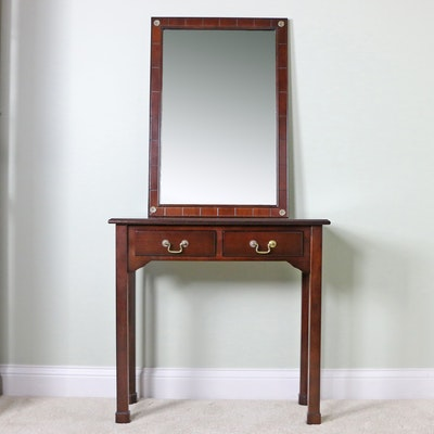 Bombay Company Rectangular Wall Mirror and Wooden Console Table