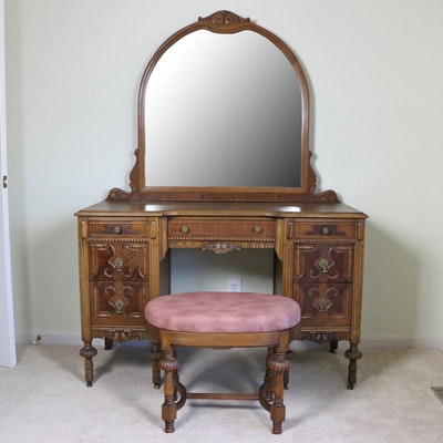 Klamer Furniture Corporation Jacobean Style Vanity and Stool, Early 20th Century