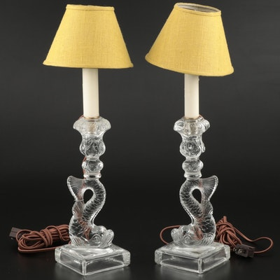 Pair of MMA Pressed Glass Dolphin Converted Candlestick Lamps
