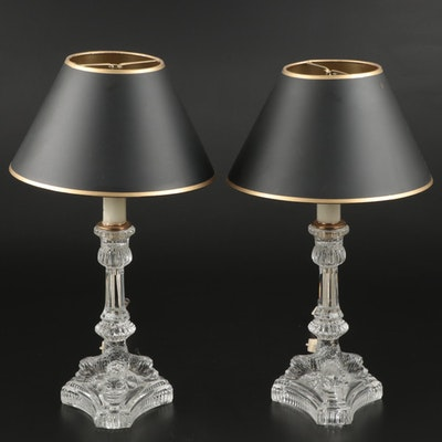 Pair of Tiffany Glass Baroque Dolphin Candlesticks Converted into Table Lamps