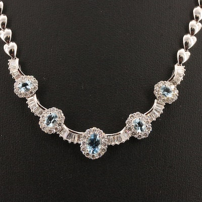 14K Aquamarine and 3.01 CTW Diamond Necklace with Heart Link