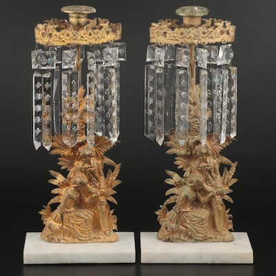 Pair of Gilt Bronze Mantel Lusters, Mid to Late 19th Century