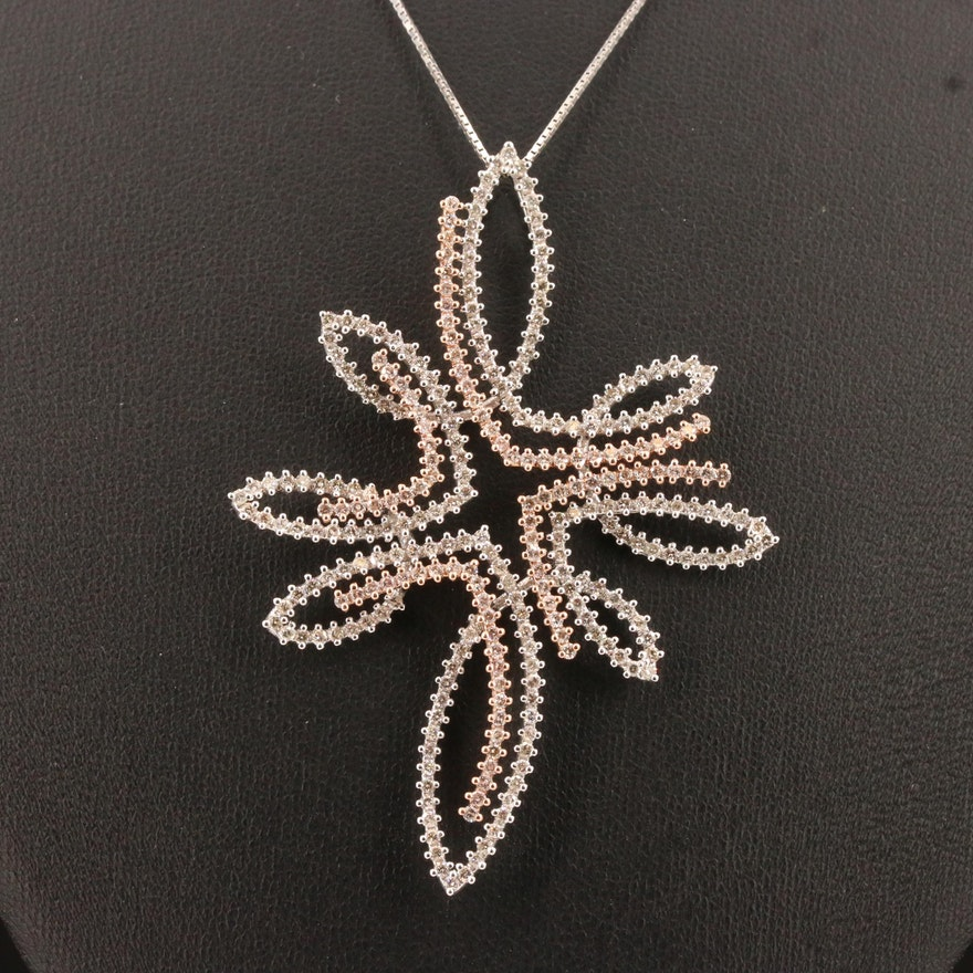 14K 3.00 CTW Diamond Pendant Necklace with Rose Gold Accents