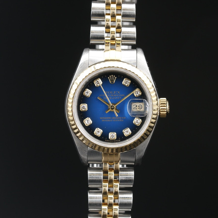 1990 Rolex Datejust Factory Diamond Dial, 18K and Stainless Steel Wristwatch