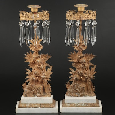 Pair of Late Victorian Cast Brass and Marble Girandoles with Cut Glass Prisms