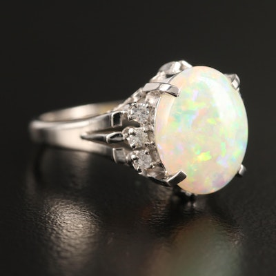 Platinum and Opal Openwork Ring with Diamond Accents