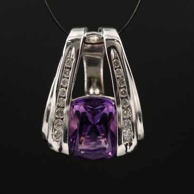 14K Amethyst and Diamond Enhancer Pendant