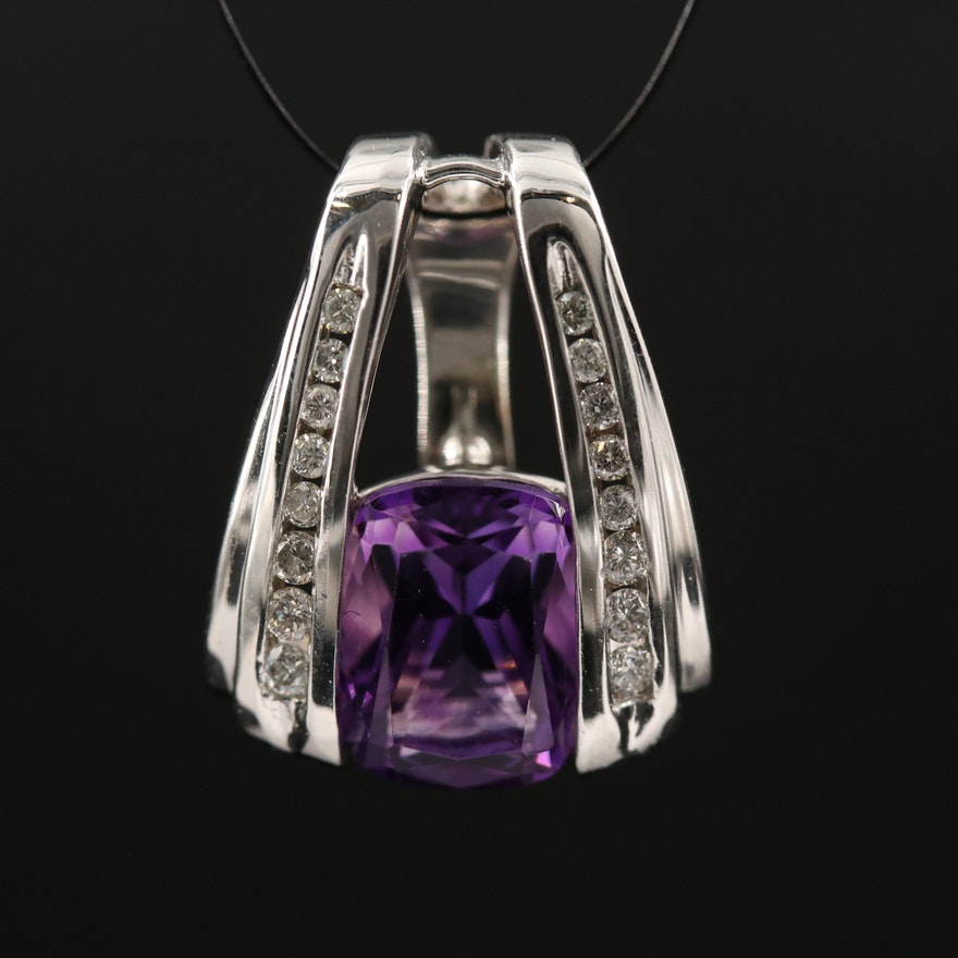 14K Amethyst and Diamond Enhancer Pendant