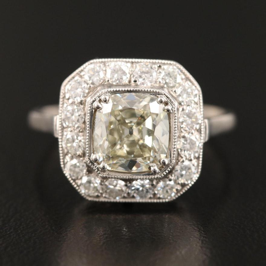 Vintage Platinum 2.61 CTW Diamond Ring with 2.01 CT Center