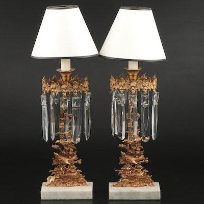 Pair of Converted Victorian Mantel Lusters, Mid to Late 19th Century