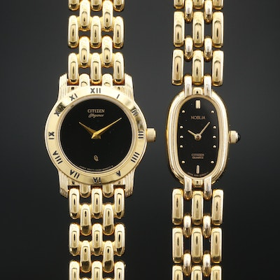 Citizen Noblia and Elegance Gold Tone Quartz Wristwatches