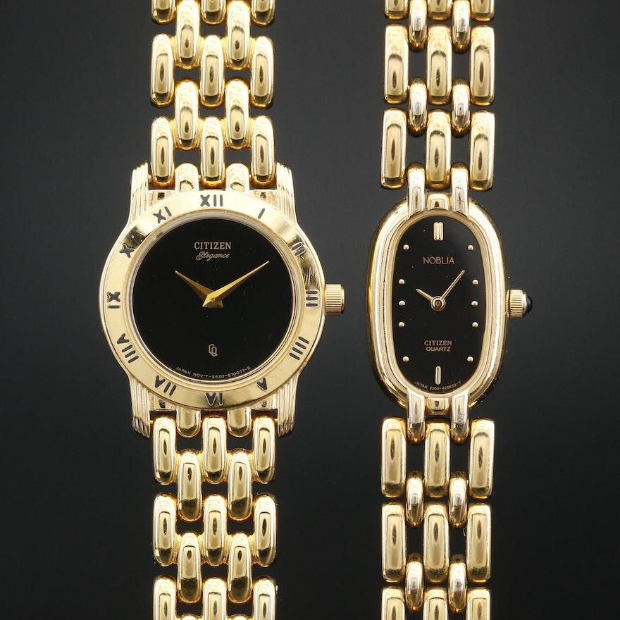 Citizen Noblia and Elegance Gold Tone Quartz Wristwatches