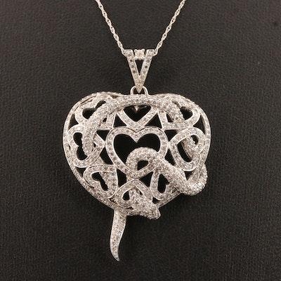 14K 2.57 CTW Diamond Heart Motif Pendant Necklace with Serpent Detail