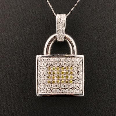 14K 1.72 CTW Pavé Diamond Padlock Necklace