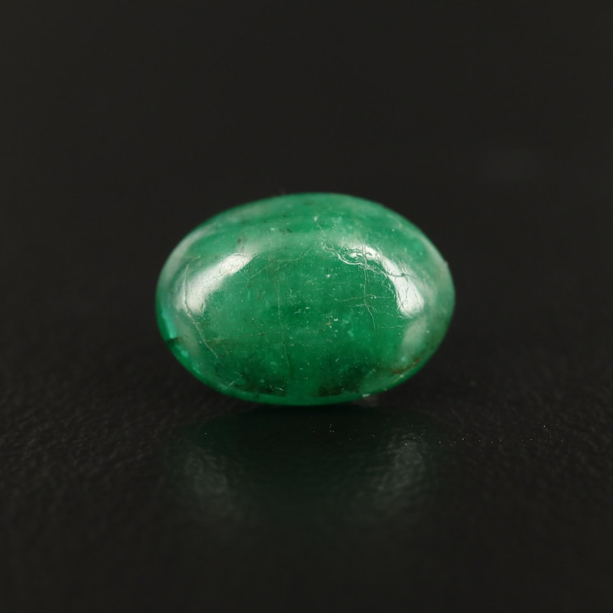 Loose 1.90 CT Oval Cabochon Emerald